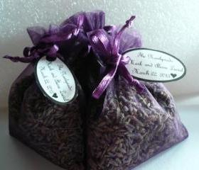 Organic Lavender Sachet Wedding Favor with custom tag, sold invidually for $1.50 each